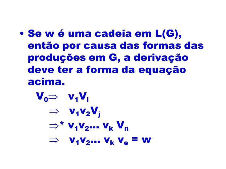 Se w é uma cadeia em L(G), então por causa das formas das produções em G, a derivação deve ter a forma da equação acima. V 0 v 1 V i v 1 v 2 V j * v 1