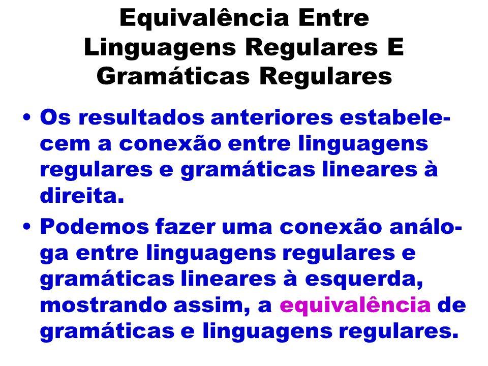 Equivalência Entre Linguagens Regulares E Gramáticas Regulares Os resultados anteriores estabele- cem a conexão entre linguagens regulares e gramática