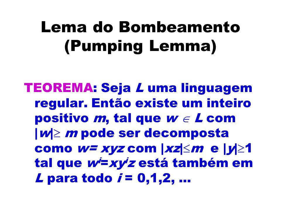 Lema do Bombeamento (Pumping Lemma) TEOREMA: Seja L uma linguagem regular. Então existe um inteiro positivo m, tal que w L com |w| m pode ser decompos