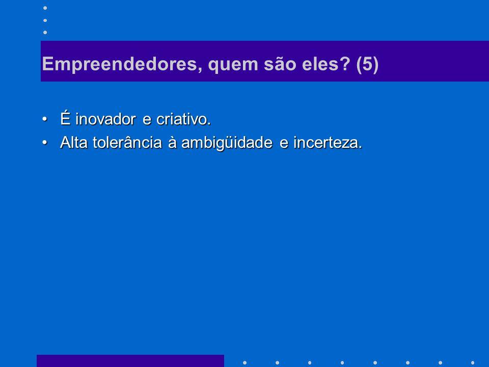 Empreendedores, quem são eles.(5) É inovador e criativo.É inovador e criativo.