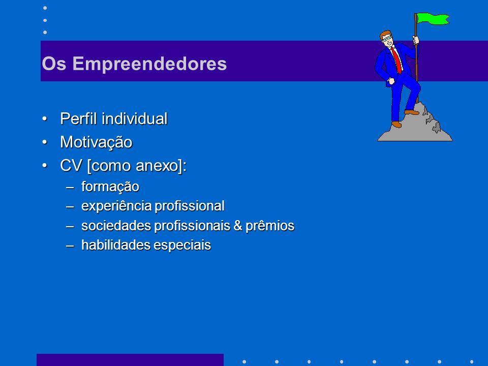 Os Empreendedores Perfil individualPerfil individual MotivaçãoMotivação CV [como anexo]:CV [como anexo]: –formação –experiência profissional –sociedades profissionais & prêmios –habilidades especiais