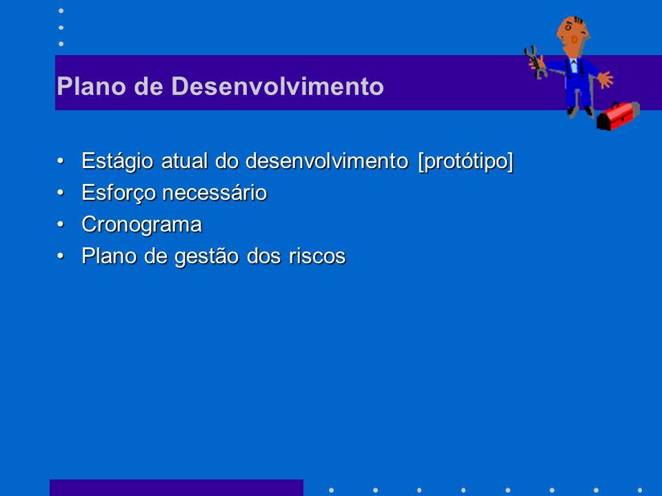 Plano de Desenvolvimento Estágio atual do desenvolvimento [protótipo]Estágio atual do desenvolvimento [protótipo] Esforço necessárioEsforço necessário CronogramaCronograma Plano de gestão dos riscosPlano de gestão dos riscos