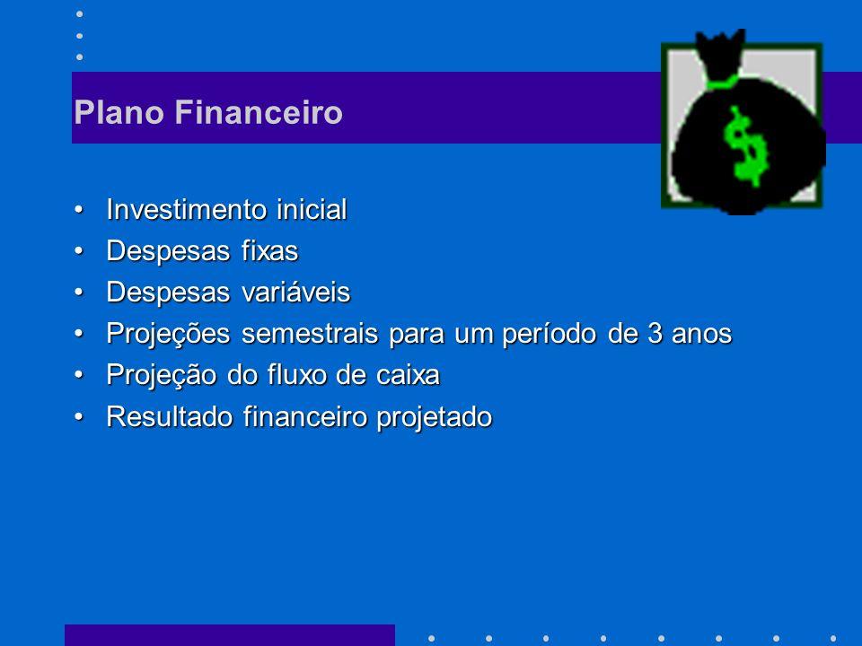 Plano Financeiro Investimento inicialInvestimento inicial Despesas fixasDespesas fixas Despesas variáveisDespesas variáveis Projeções semestrais para um período de 3 anosProjeções semestrais para um período de 3 anos Projeção do fluxo de caixaProjeção do fluxo de caixa Resultado financeiro projetadoResultado financeiro projetado