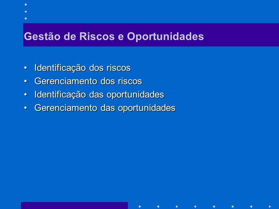 Gestão de Riscos e Oportunidades Identificação dos riscosIdentificação dos riscos Gerenciamento dos riscosGerenciamento dos riscos Identificação das oportunidadesIdentificação das oportunidades Gerenciamento das oportunidadesGerenciamento das oportunidades
