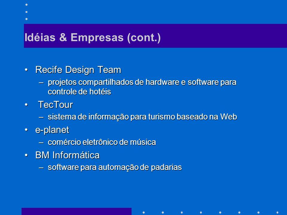 Idéias & Empresas (cont.) Recife Design TeamRecife Design Team –projetos compartilhados de hardware e software para controle de hotéis TecTour TecTour –sistema de informação para turismo baseado na Web e-planete-planet –comércio eletrônico de música BM InformáticaBM Informática –software para automação de padarias