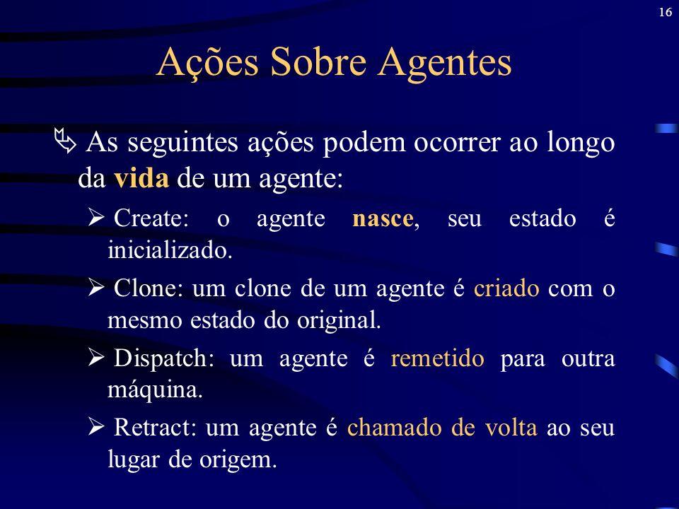 16 Ações Sobre Agentes As seguintes ações podem ocorrer ao longo da vida de um agente: Create: o agente nasce, seu estado é inicializado. Clone: um cl