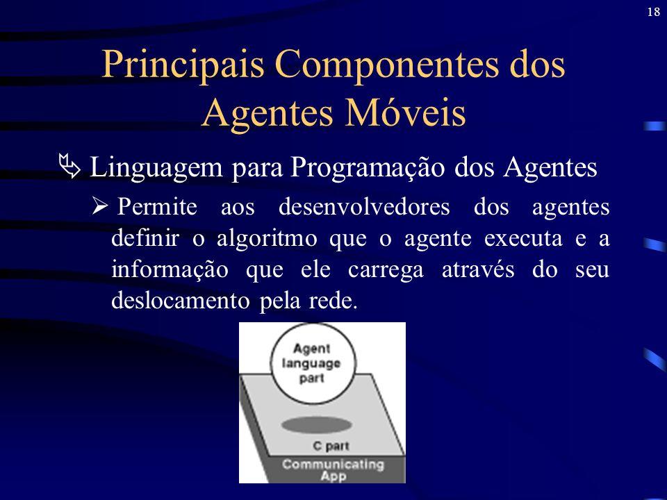 18 Principais Componentes dos Agentes Móveis Linguagem para Programação dos Agentes Permite aos desenvolvedores dos agentes definir o algoritmo que o