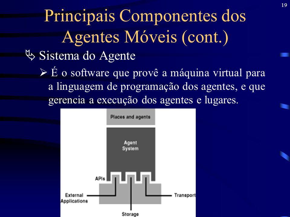 19 Principais Componentes dos Agentes Móveis (cont.) Sistema do Agente É o software que provê a máquina virtual para a linguagem de programação dos ag