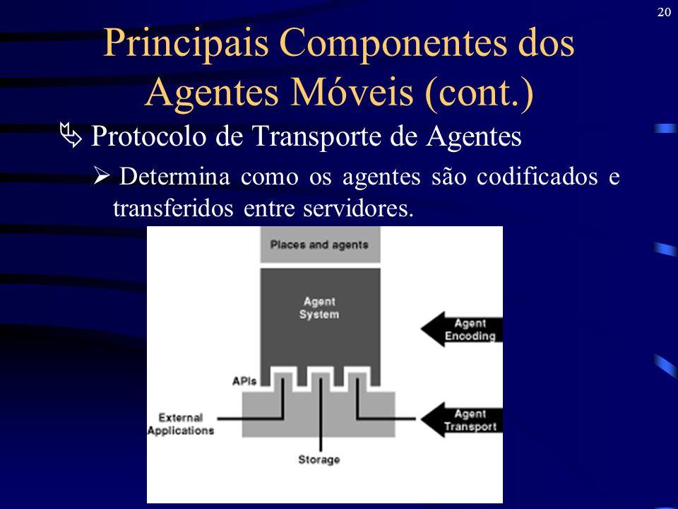 20 Principais Componentes dos Agentes Móveis (cont.) Protocolo de Transporte de Agentes Determina como os agentes são codificados e transferidos entre