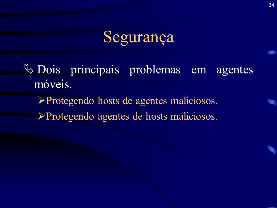 24 Segurança Dois principais problemas em agentes móveis. Protegendo hosts de agentes maliciosos. Protegendo agentes de hosts maliciosos.