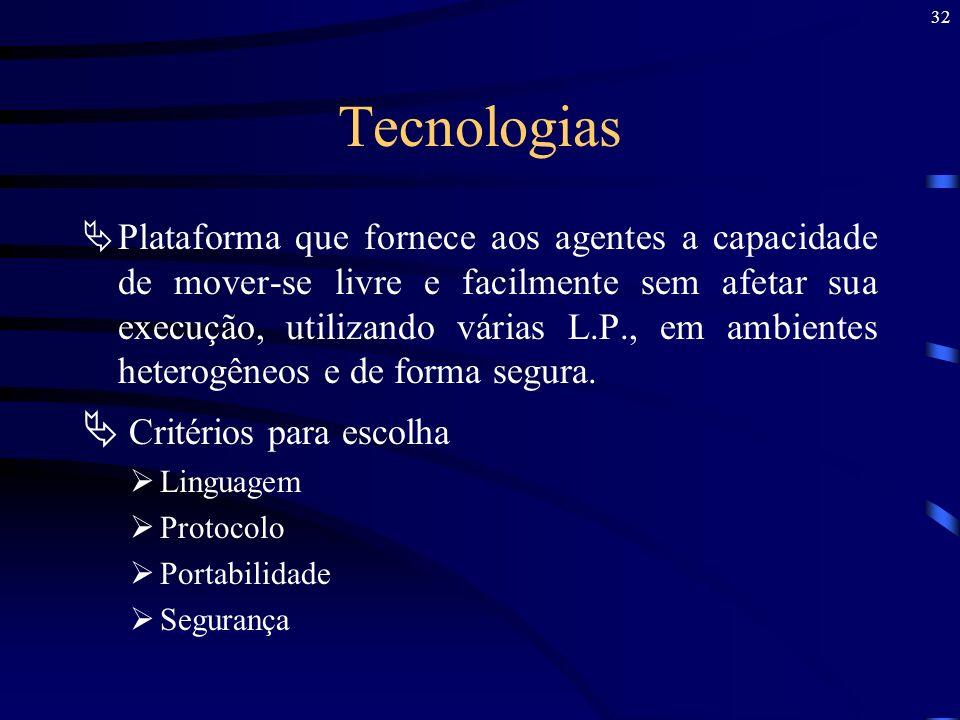 32 Tecnologias Plataforma que fornece aos agentes a capacidade de mover-se livre e facilmente sem afetar sua execução, utilizando várias L.P., em ambi