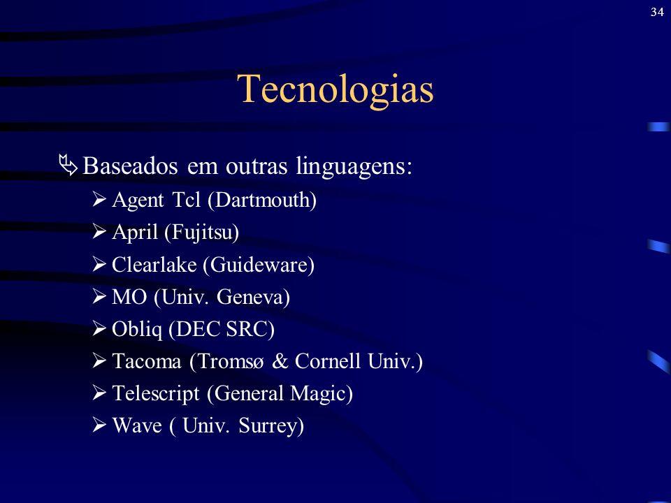 34 Tecnologias Baseados em outras linguagens: Agent Tcl (Dartmouth) April (Fujitsu) Clearlake (Guideware) MO (Univ. Geneva) Obliq (DEC SRC) Tacoma (Tr