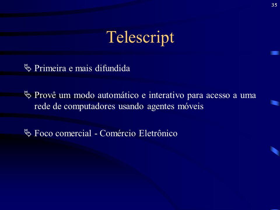 35 Telescript Primeira e mais difundida Provê um modo automático e interativo para acesso a uma rede de computadores usando agentes móveis Foco comerc