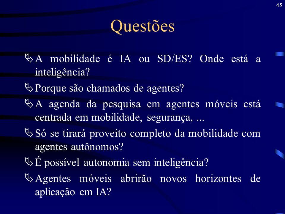 45 Questões A mobilidade é IA ou SD/ES? Onde está a inteligência? Porque são chamados de agentes? A agenda da pesquisa em agentes móveis está centrada