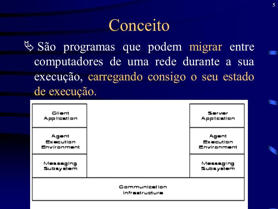 5 Conceito São programas que podem migrar entre computadores de uma rede durante a sua execução, carregando consigo o seu estado de execução.