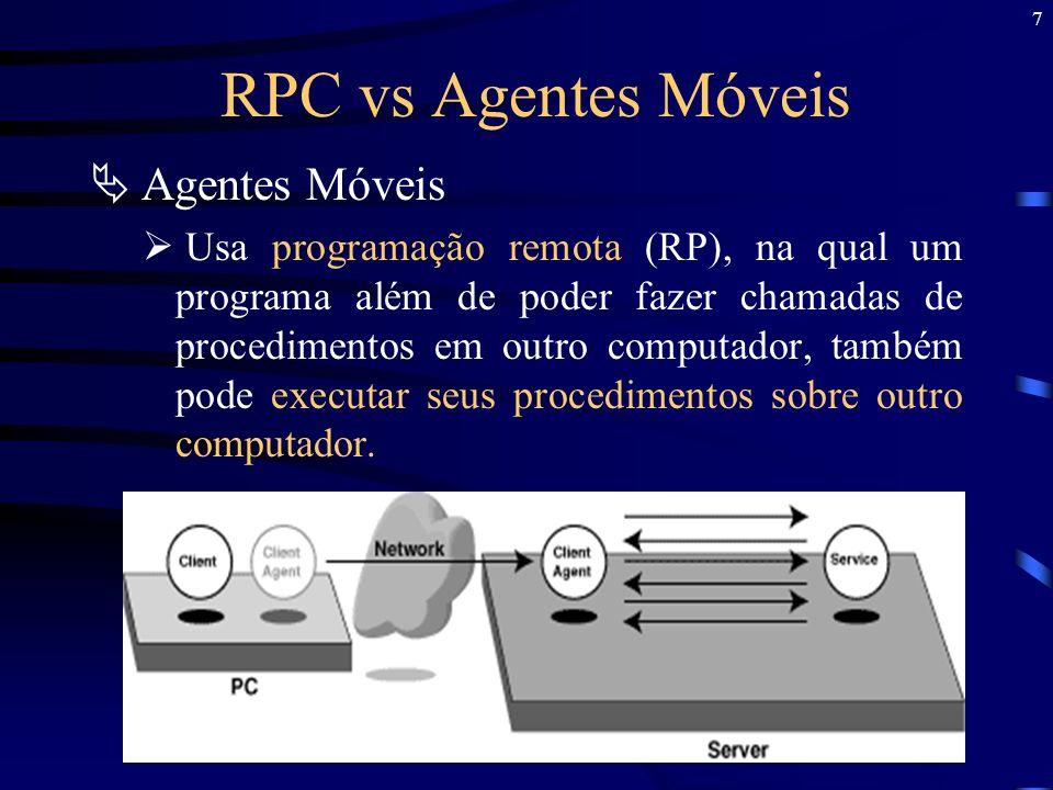 18 Principais Componentes dos Agentes Móveis Linguagem para Programação dos Agentes Permite aos desenvolvedores dos agentes definir o algoritmo que o agente executa e a informação que ele carrega através do seu deslocamento pela rede.