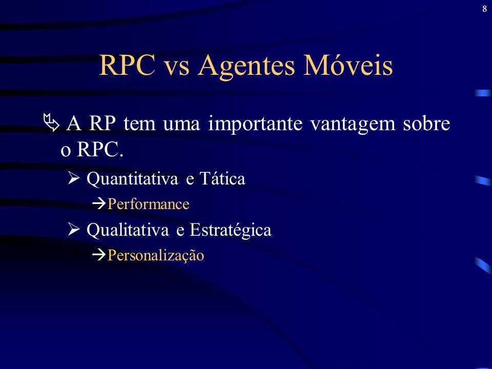 8 RPC vs Agentes Móveis A RP tem uma importante vantagem sobre o RPC. Quantitativa e Tática Performance Qualitativa e Estratégica Personalização