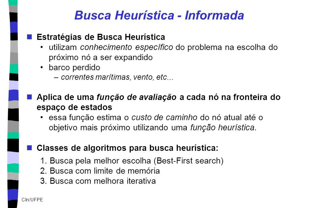 CIn/UFPE Busca Heurística - Informada Estratégias de Busca Heurística utilizam conhecimento específico do problema na escolha do próximo nó a ser expa