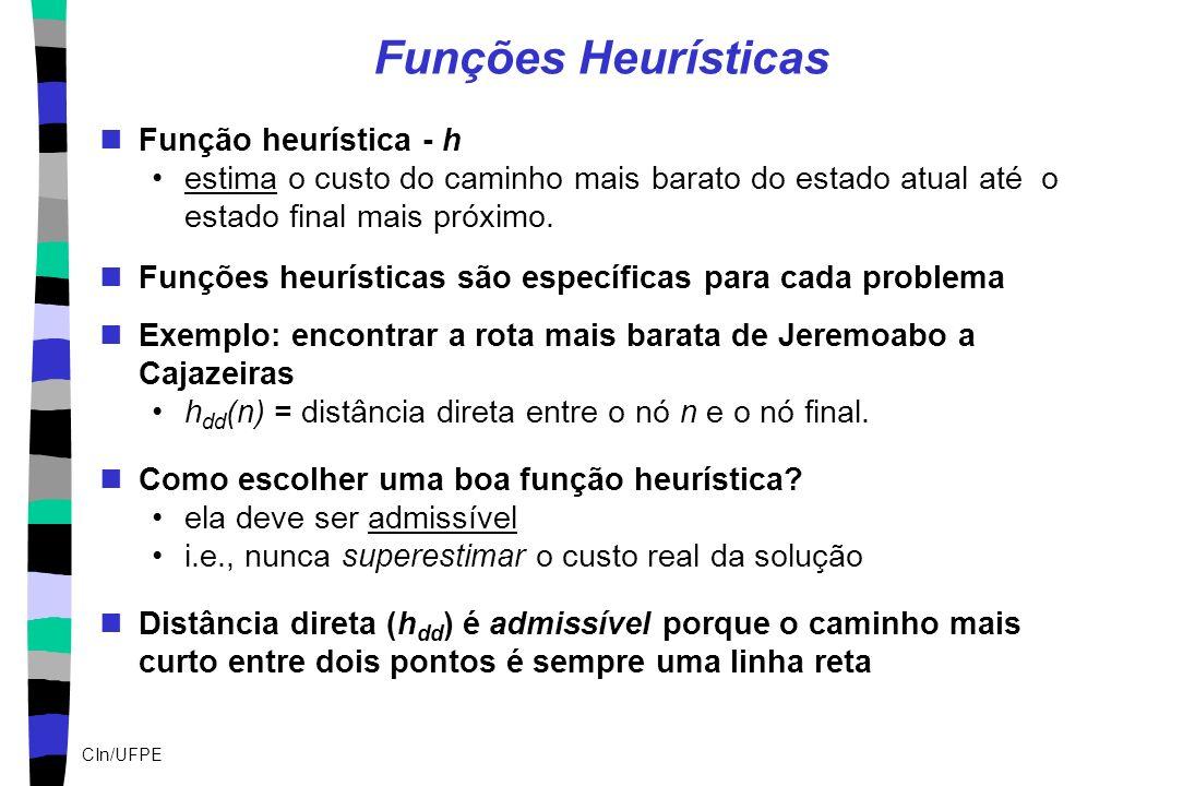 CIn/UFPE Funções Heurísticas Função heurística - h estima o custo do caminho mais barato do estado atual até o estado final mais próximo. Funções heur