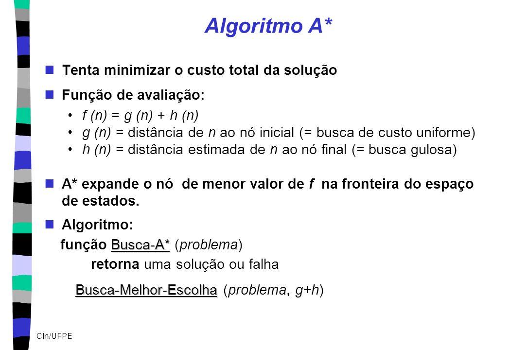CIn/UFPE Algoritmo A* Tenta minimizar o custo total da solução Função de avaliação: f (n) = g (n) + h (n) g (n) = distância de n ao nó inicial (= busc