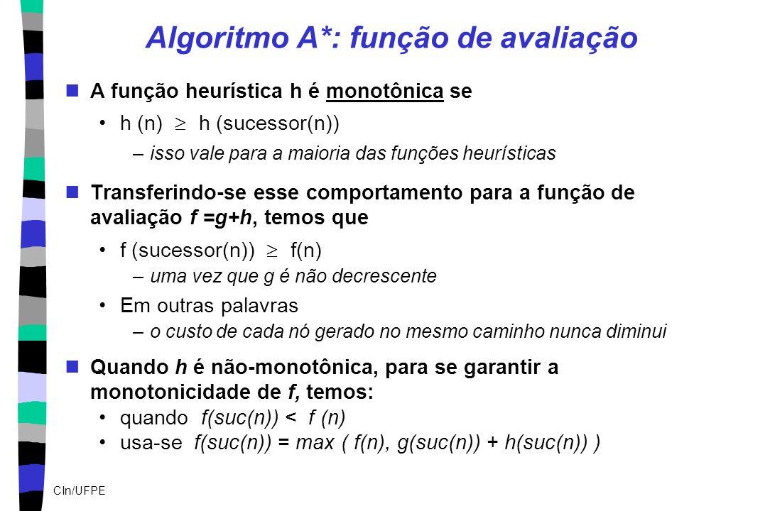 CIn/UFPE Algoritmo A*: função de avaliação A função heurística h é monotônica se h (n) h (sucessor(n)) –isso vale para a maioria das funções heurístic