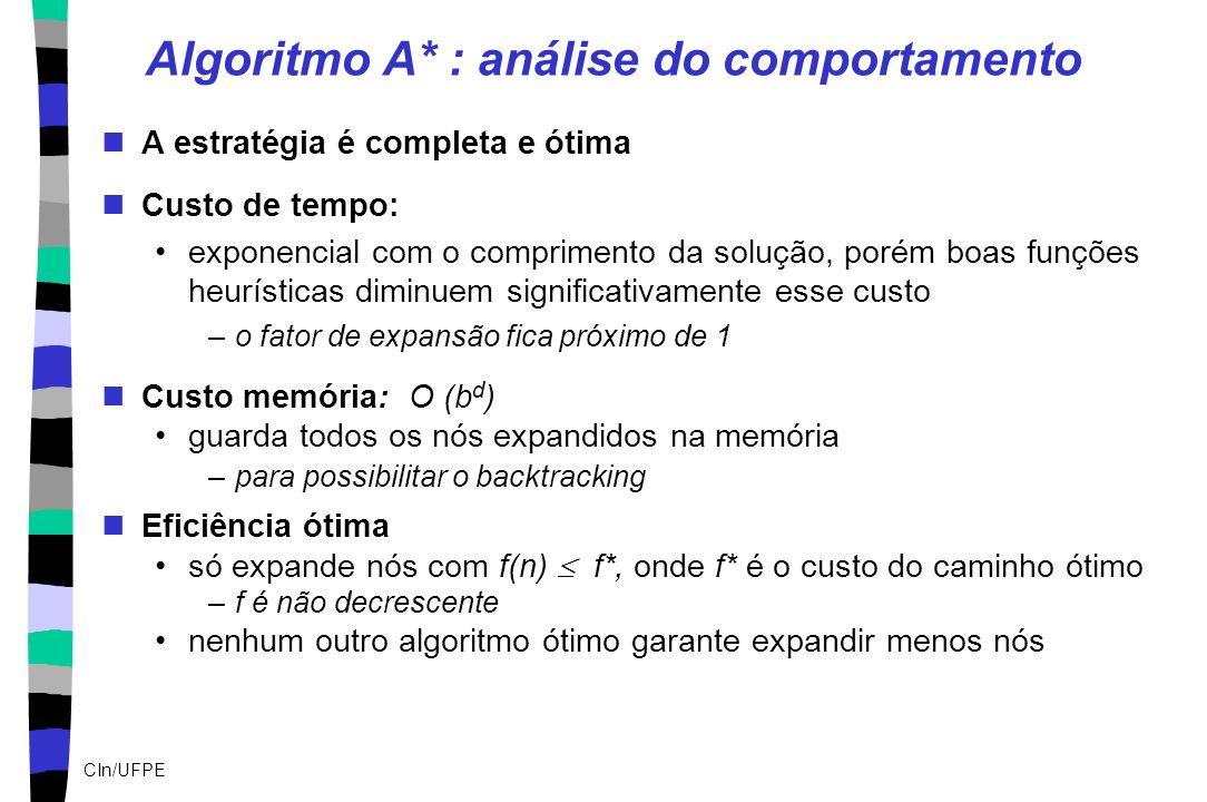 CIn/UFPE Algoritmo A* : análise do comportamento A estratégia é completa e ótima Custo de tempo: exponencial com o comprimento da solução, porém boas