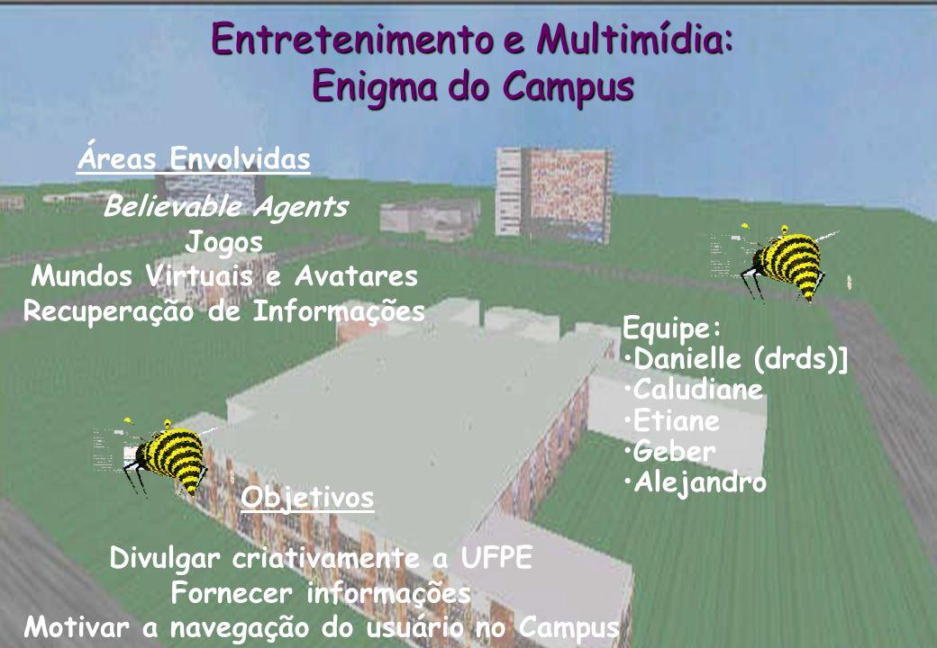 Believable Agents Jogos Mundos Virtuais e Avatares Recuperação de Informações Áreas Envolvidas Divulgar criativamente a UFPE Fornecer informações Moti