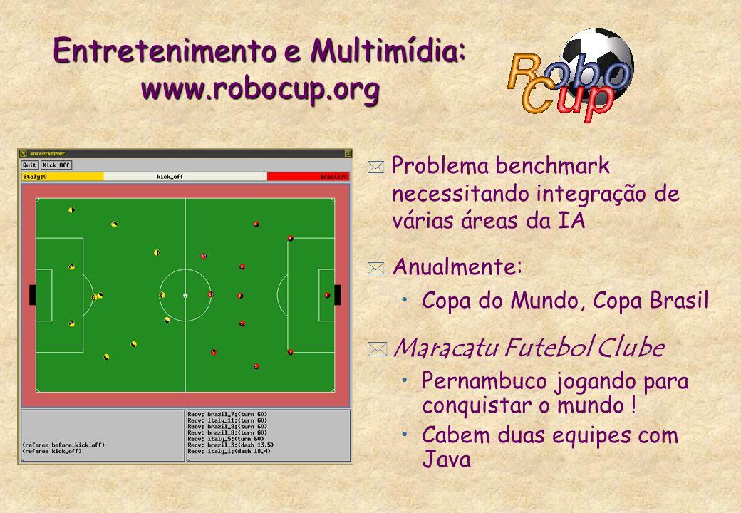 Entretenimento e Multimídia: www.robocup.org * Problema benchmark necessitando integração de várias áreas da IA * Anualmente: Copa do Mundo, Copa Bras
