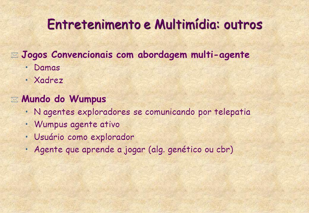 Entretenimento e Multimídia: outros * Jogos Convencionais com abordagem multi-agente Damas Xadrez * Mundo do Wumpus N agentes exploradores se comunica
