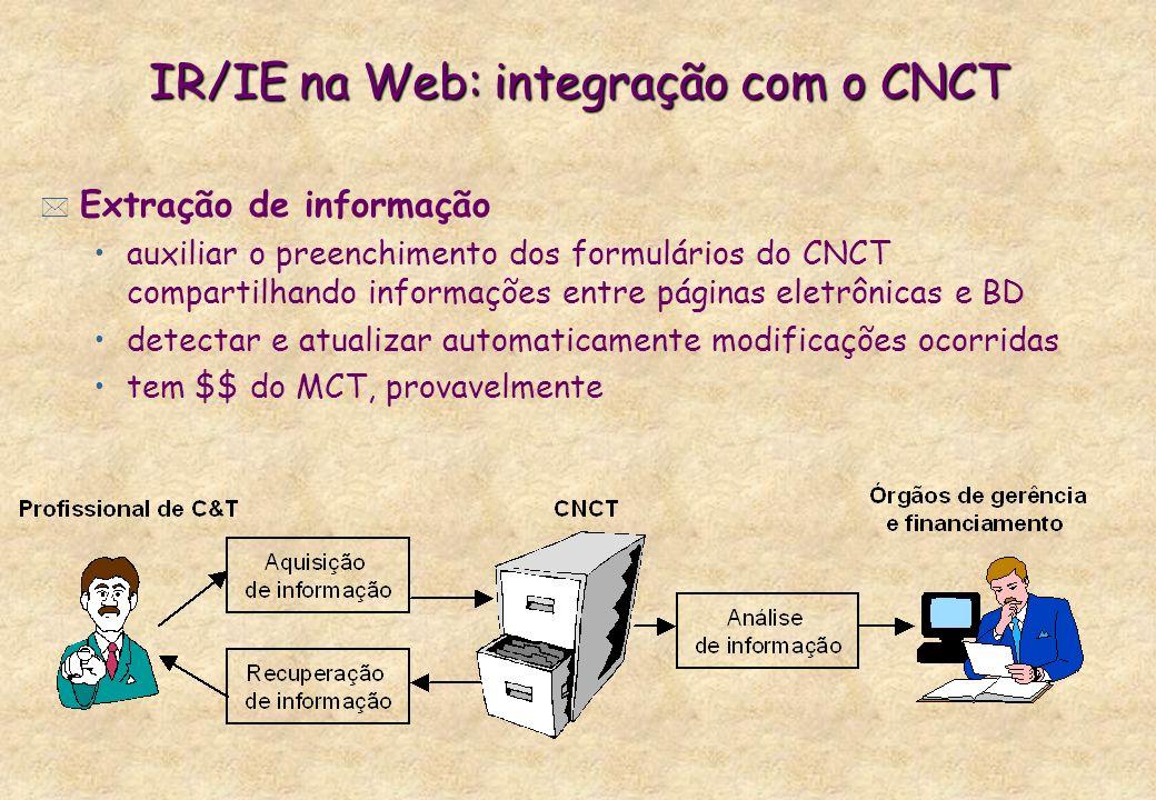 IR/IE na Web: integração com o CNCT * Extração de informação auxiliar o preenchimento dos formulários do CNCT compartilhando informações entre páginas
