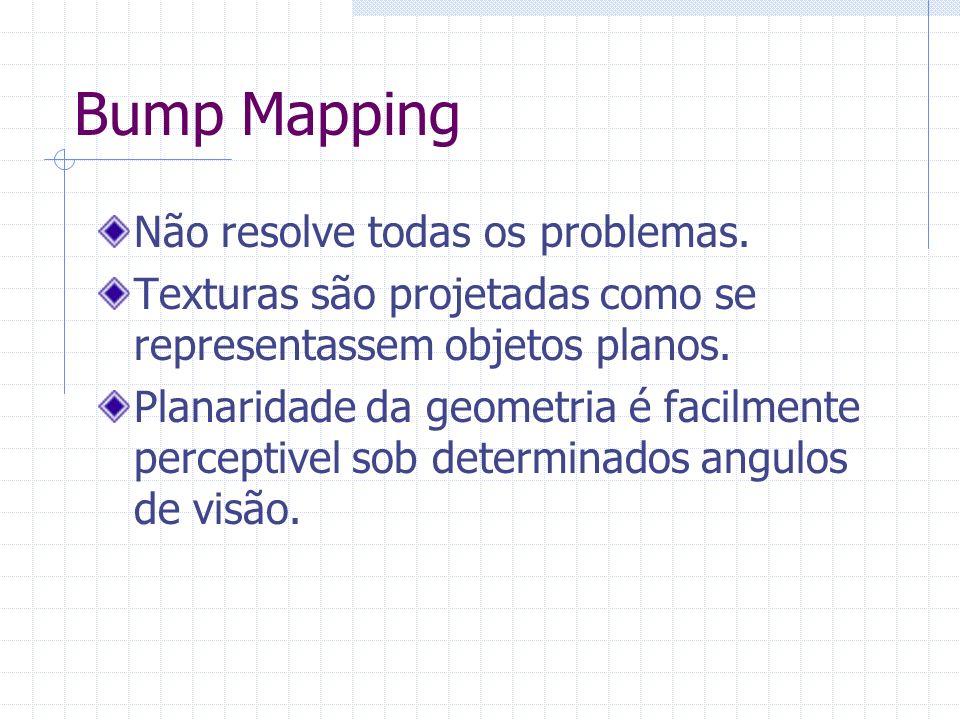 Bump Mapping Não resolve todas os problemas. Texturas são projetadas como se representassem objetos planos. Planaridade da geometria é facilmente perc