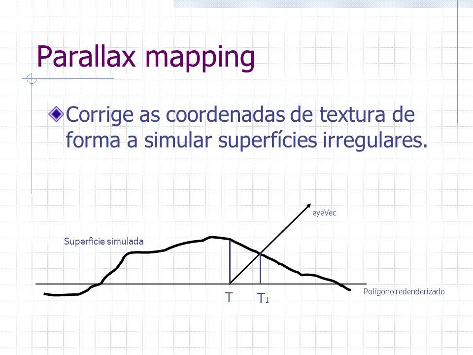 Parallax mapping Corrige as coordenadas de textura de forma a simular superfícies irregulares. T T1T1 Superficie simulada Polígono redenderizado eyeVe