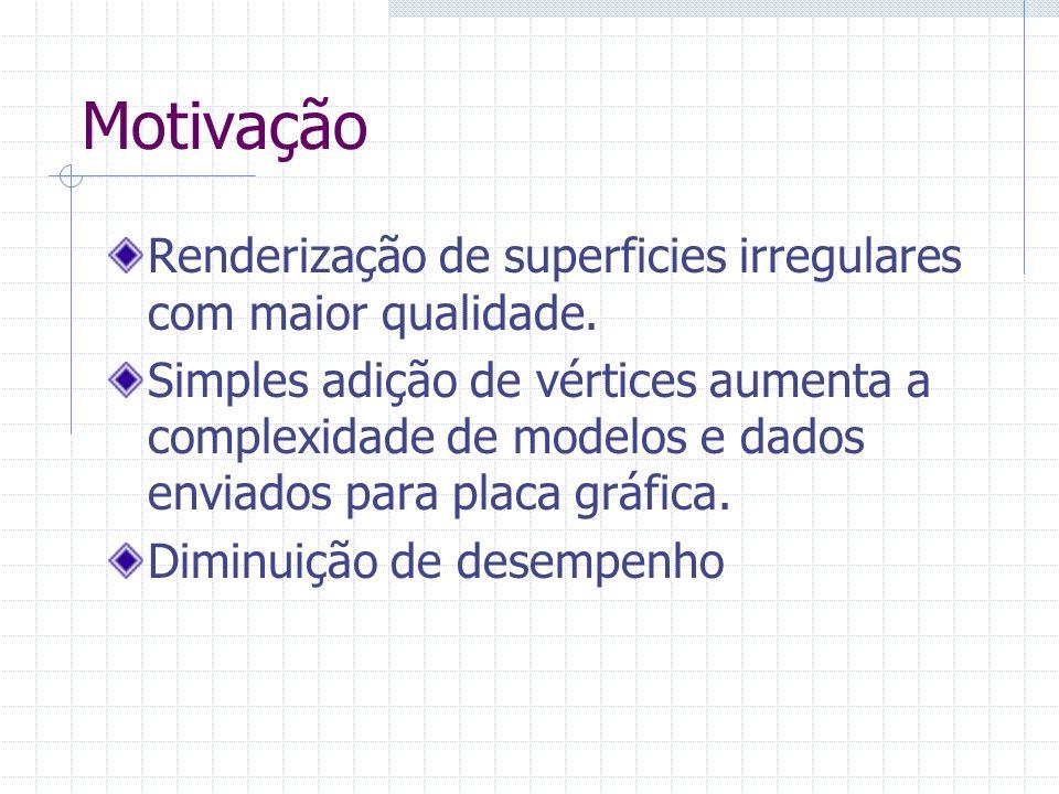 Motivação Renderização de superficies irregulares com maior qualidade. Simples adição de vértices aumenta a complexidade de modelos e dados enviados p