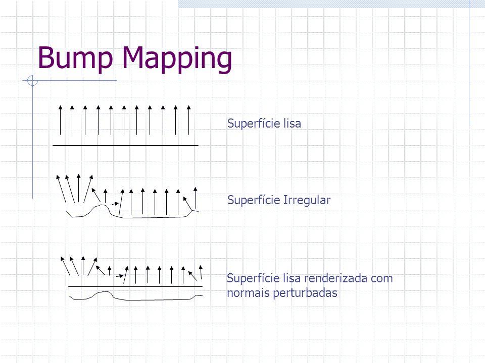 Bump mapping As normais perturbadas são armazenadas em texturas 2d (normal maps) Mapa de normais pode ser calculado em tempo real Técnicas mais avançadas utilizam height maps para oclusão, ou informações sobre a superficie