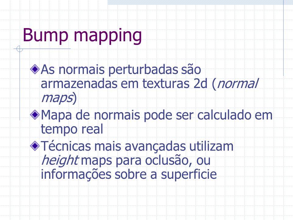 Bump mapping As normais perturbadas são armazenadas em texturas 2d (normal maps) Mapa de normais pode ser calculado em tempo real Técnicas mais avança