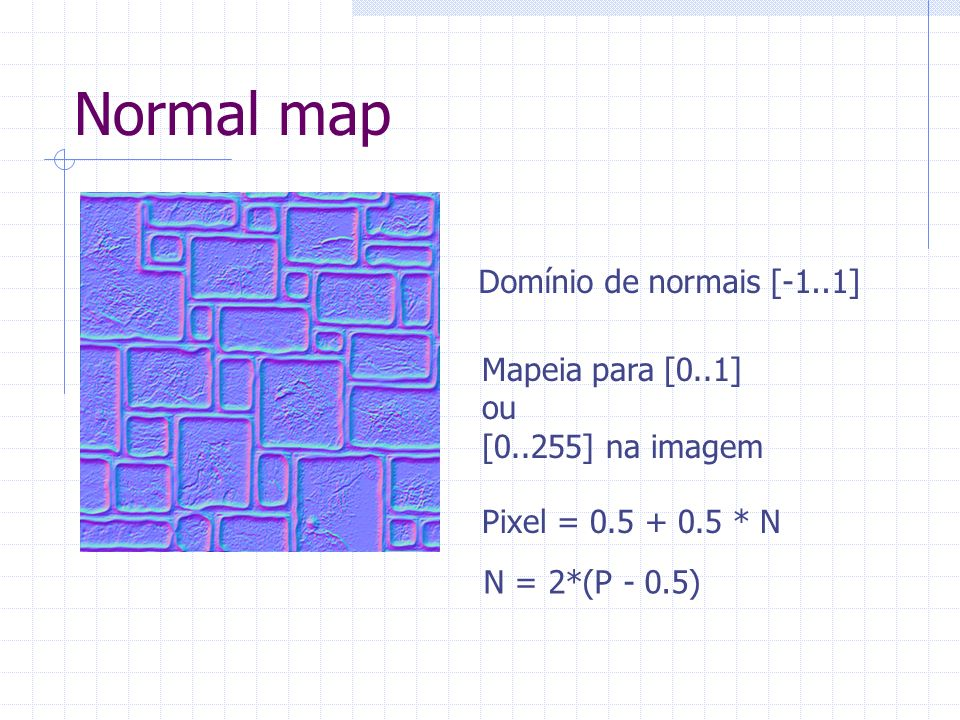 Bump Mapping Utilização de per pixel lighting Componente difusa: (N dot L) Componente especular: (N dot H) n