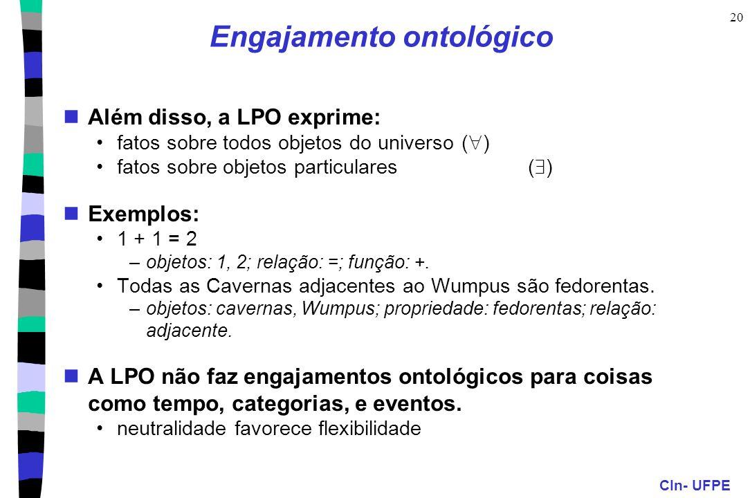 CIn- UFPE 20 Engajamento ontológico Além disso, a LPO exprime: fatos sobre todos objetos do universo ( ) fatos sobre objetos particulares( ) Exemplos: