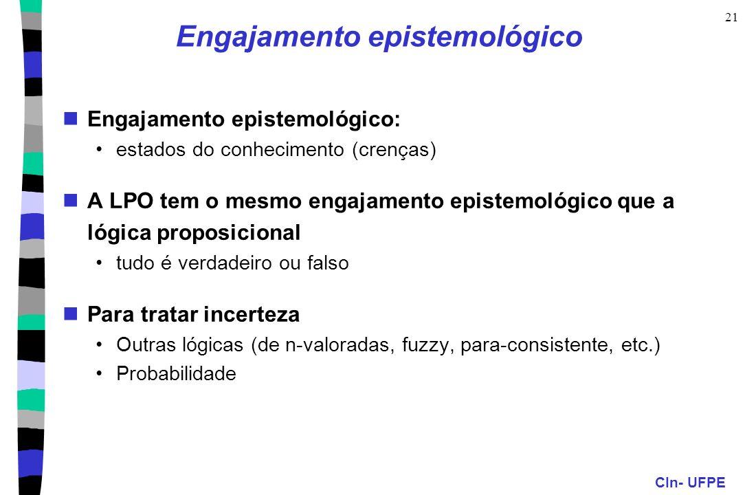 CIn- UFPE 21 Engajamento epistemológico Engajamento epistemológico: estados do conhecimento (crenças) A LPO tem o mesmo engajamento epistemológico que