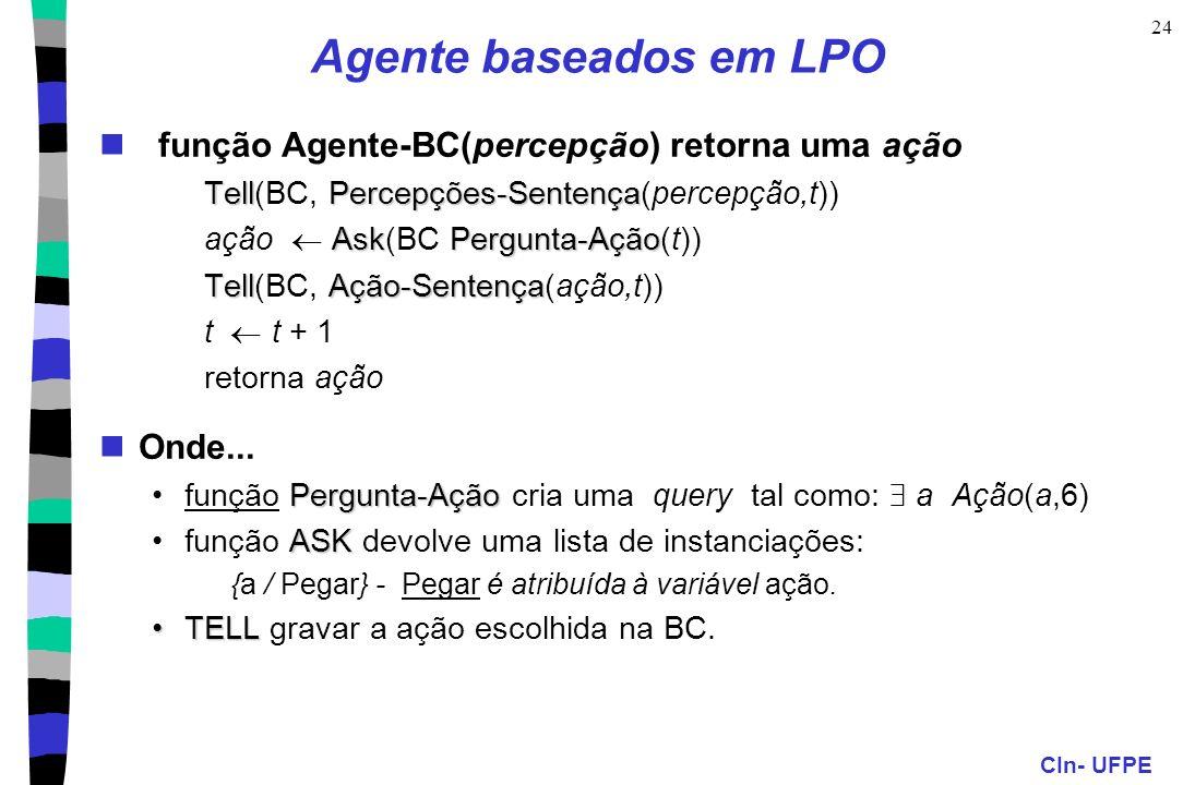 CIn- UFPE 24 Agente baseados em LPO função Agente-BC(percepção) retorna uma ação TellPercepções-Sentença Tell(BC, Percepções-Sentença(percepção,t)) As