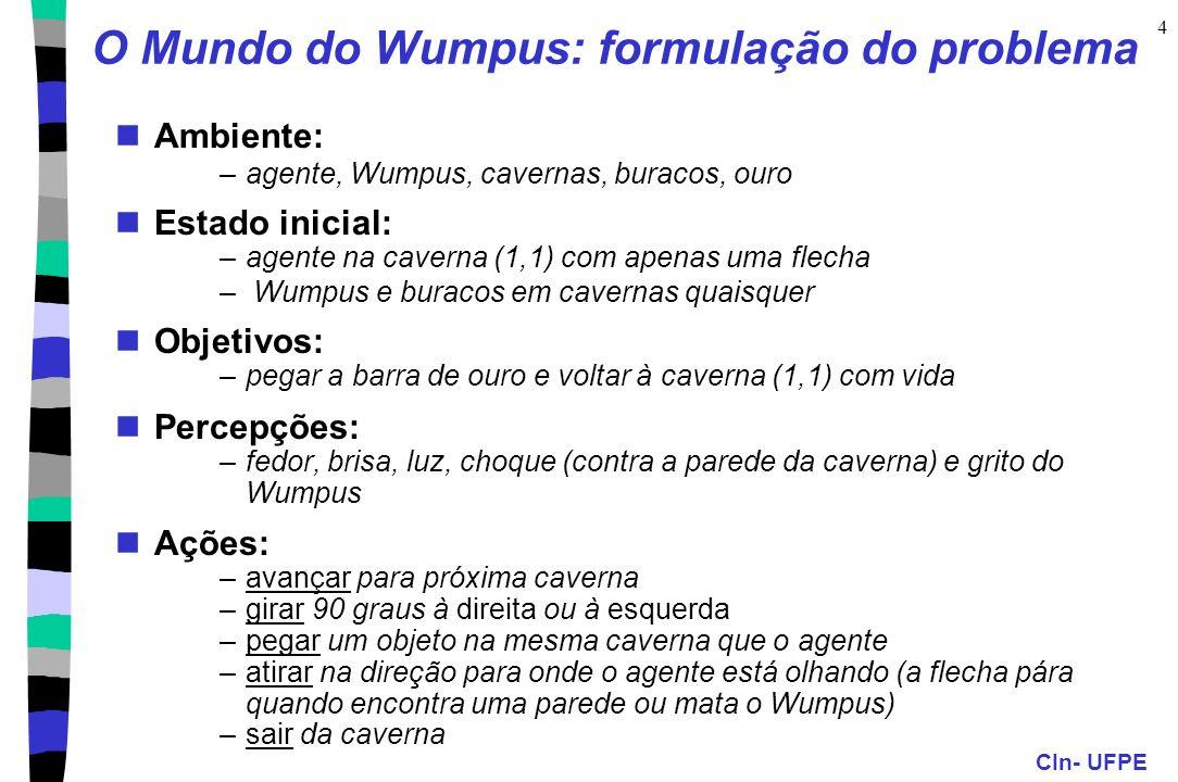 CIn- UFPE 4 O Mundo do Wumpus: formulação do problema Ambiente: –agente, Wumpus, cavernas, buracos, ouro Estado inicial: –agente na caverna (1,1) com