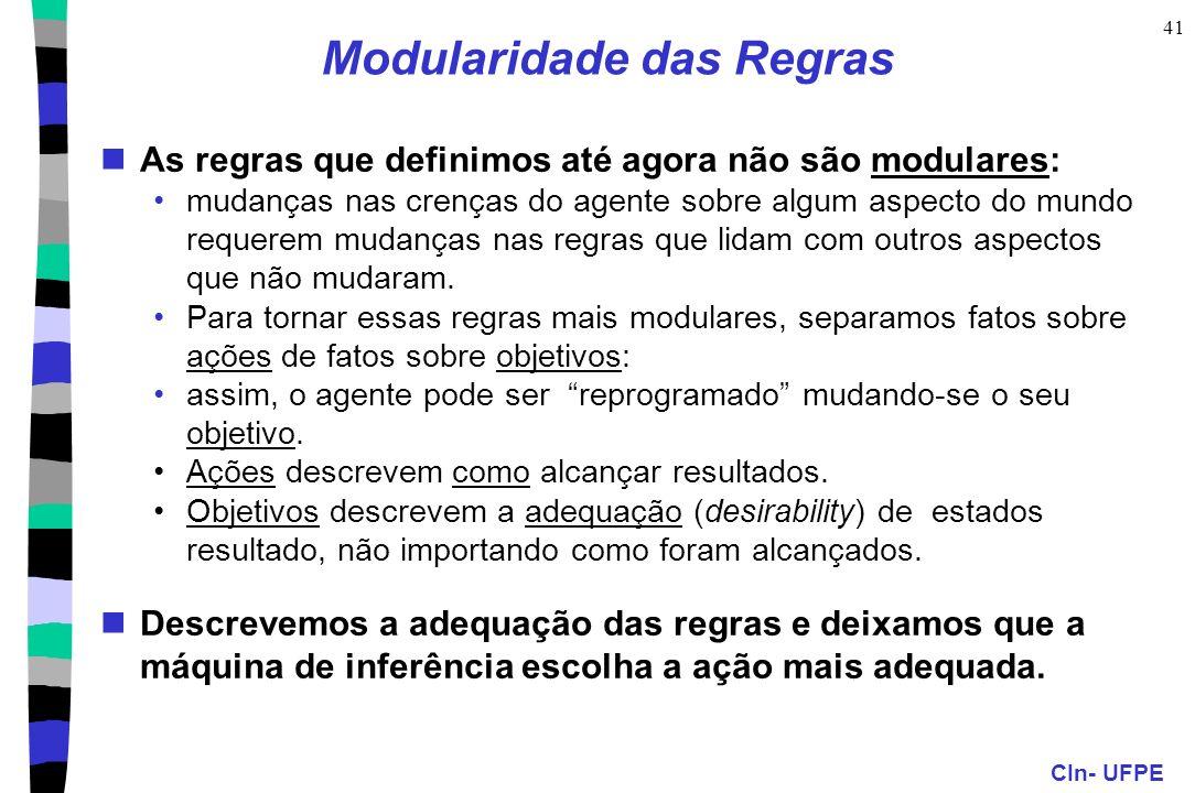 CIn- UFPE 41 As regras que definimos até agora não são modulares: mudanças nas crenças do agente sobre algum aspecto do mundo requerem mudanças nas re