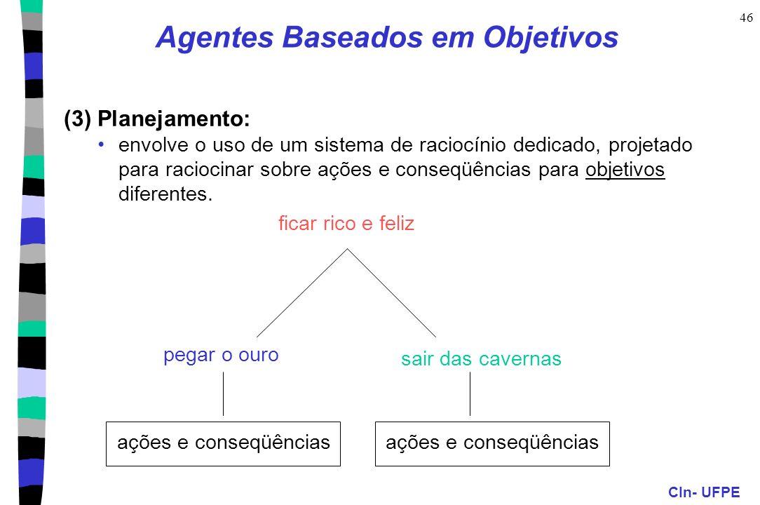 CIn- UFPE 46 (3) Planejamento: envolve o uso de um sistema de raciocínio dedicado, projetado para raciocinar sobre ações e conseqüências para objetivo