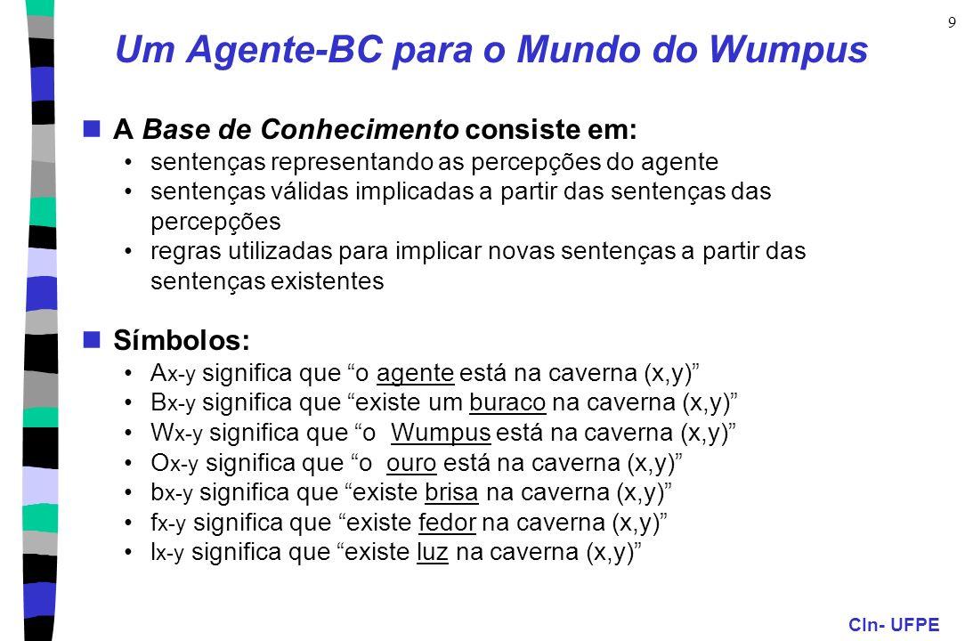 CIn- UFPE 9 Um Agente-BC para o Mundo do Wumpus A Base de Conhecimento consiste em: sentenças representando as percepções do agente sentenças válidas