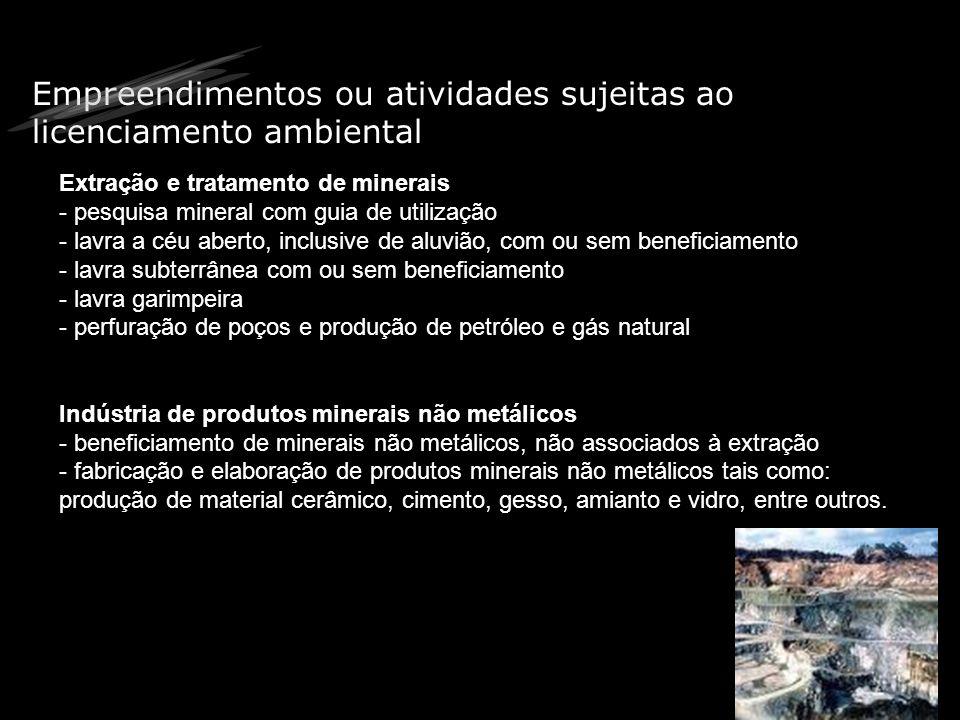 Empreendimentos ou atividades sujeitas ao licenciamento ambiental Indústria metalúrgica - fabricação de aço e de produtos siderúrgicos - produção de fundidos de ferro e aço / forjados /arames / relaminados com ou sem tratamento de superfície, inclusive galvanoplastia - metalurgia dos metais não-ferrosos, em formas primárias e secundárias, inclusive ouro - produção de laminados / ligas / artefatos de metais não-ferrosos com ou sem ratamento de superfície, inclusive galvanoplastia -relaminação de metais não-ferrosos, inclusive ligas -- metalurgia do pó, inclusive peças moldadas - fabricação de estruturas metálicas com ou sem tratamento de superfície, inclusive galvanoplastia - fabricação de artefatos de ferro / aço e de metais não-ferrosos com ou sem tratamento de superfície, inclusive galvanoplastia