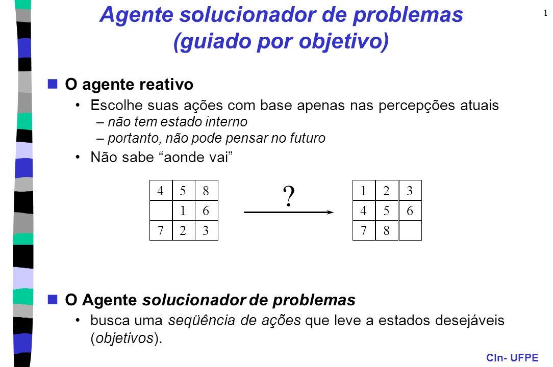 CIn- UFPE 1 Agente solucionador de problemas (guiado por objetivo) O agente reativo Escolhe suas ações com base apenas nas percepções atuais –não tem