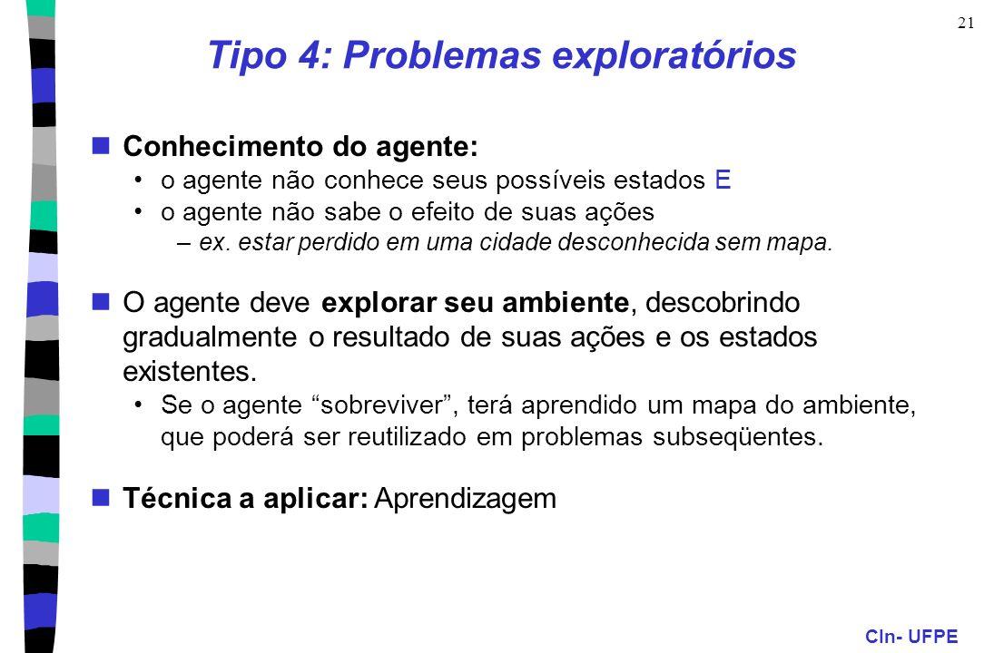 CIn- UFPE 21 Tipo 4: Problemas exploratórios Conhecimento do agente: o agente não conhece seus possíveis estados E o agente não sabe o efeito de suas