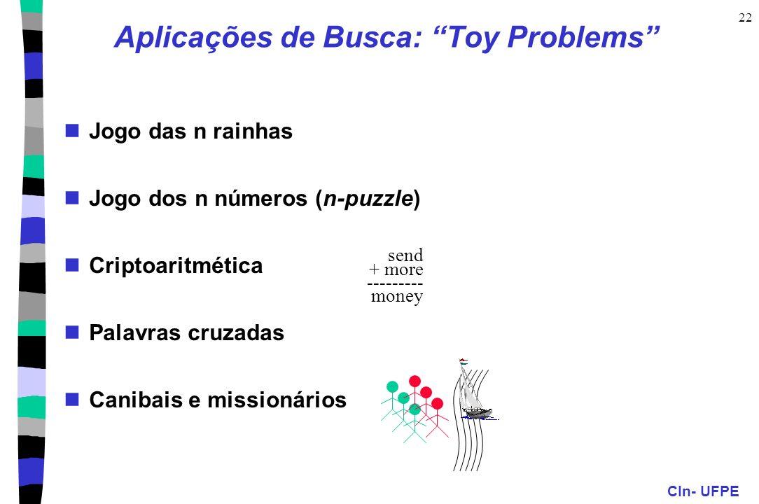 CIn- UFPE 22 Aplicações de Busca: Toy Problems Jogo das n rainhas Jogo dos n números (n-puzzle) Criptoaritmética Palavras cruzadas Canibais e missioná