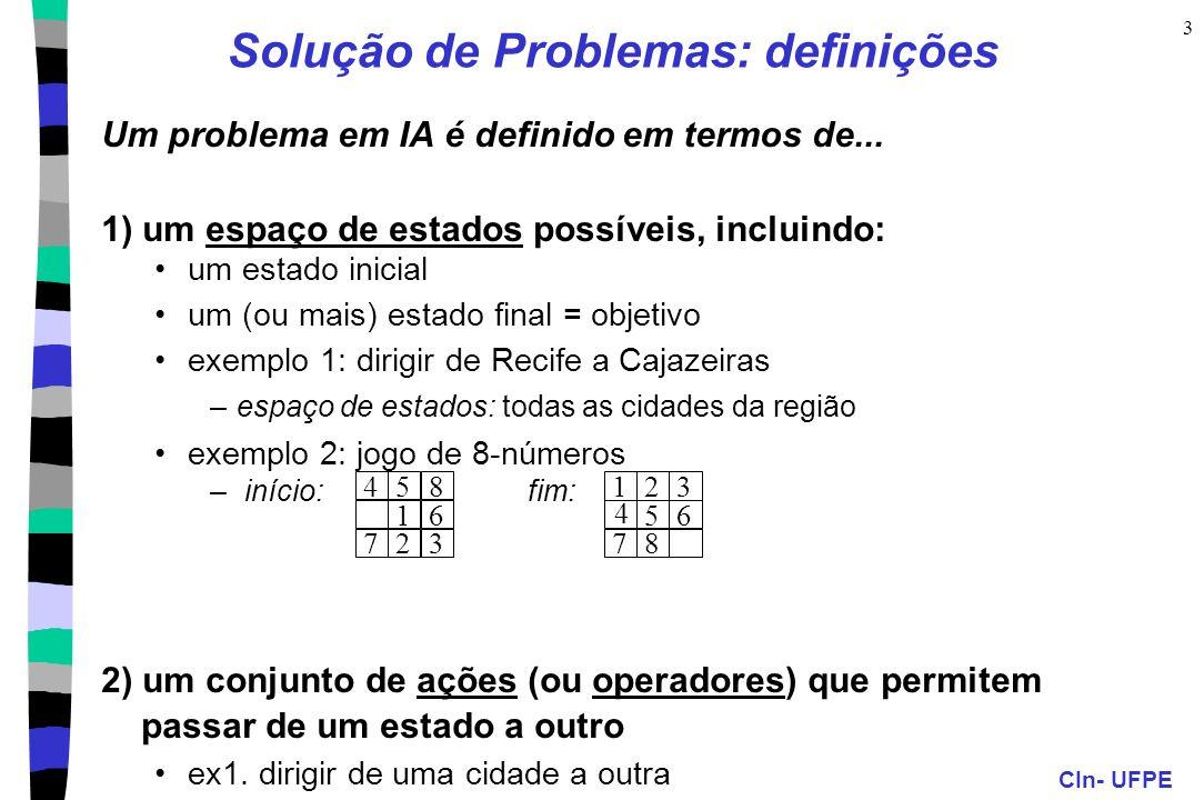 CIn- UFPE 3 Solução de Problemas: definições Um problema em IA é definido em termos de... 1) um espaço de estados possíveis, incluindo: um estado inic