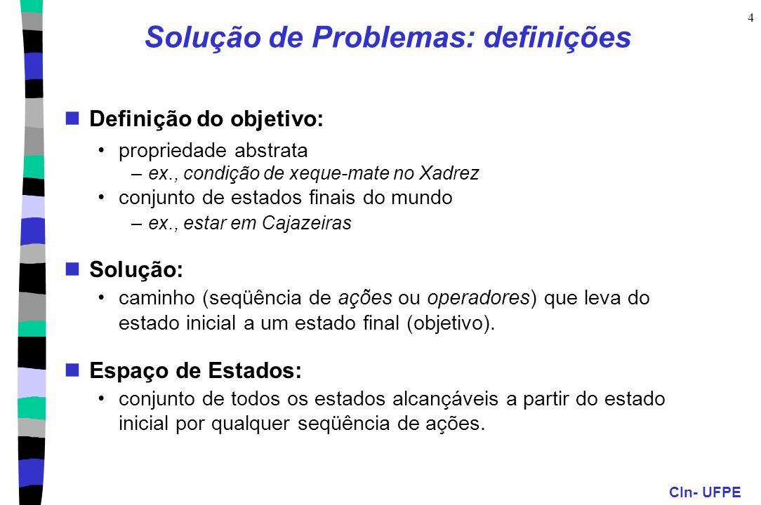 CIn- UFPE 4 Solução de Problemas: definições Definição do objetivo: propriedade abstrata –ex., condição de xeque-mate no Xadrez conjunto de estados fi