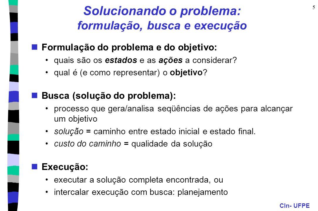 CIn- UFPE 5 Solucionando o problema: formulação, busca e execução Formulação do problema e do objetivo: quais são os estados e as ações a considerar?